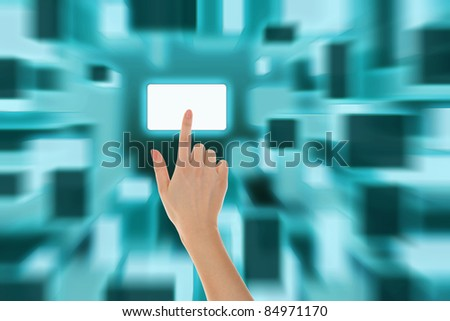 picture of a hand finger pushing virtual keypad button - stock photo