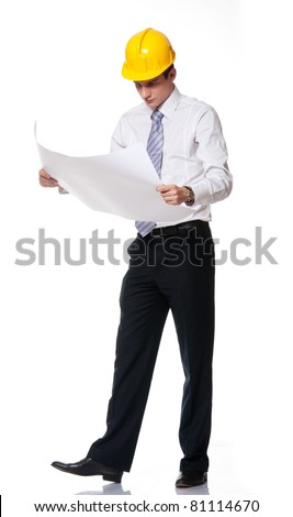 Picture of a handsome builder - stock photo