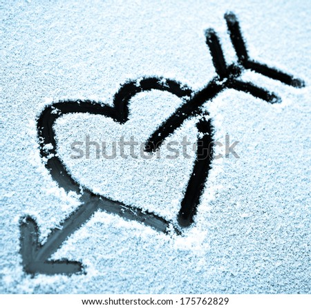 Picture of a heart drawing in the snow