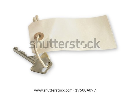 Picture of a key with a tag on. You can add your own text on the tag - stock photo