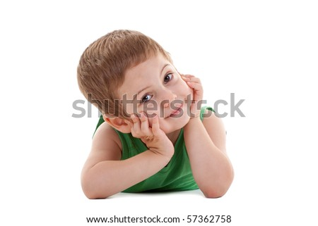 picture of a kid laying down and holding his head in his palms, over white - stock photo