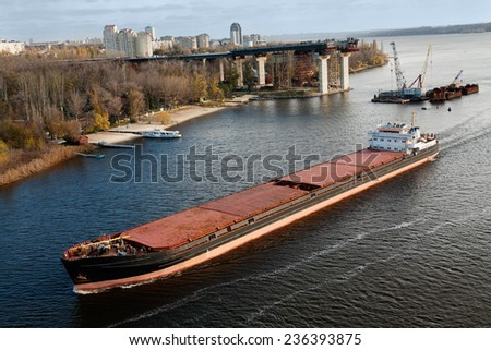 Picture of a large barge moving - stock photo