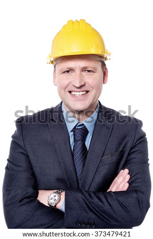 Picture of a male engineer with folded arms - stock photo