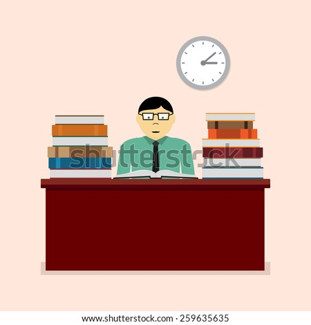 picture of a man sitting at the table and reading book, study, learning, education concept, flat style illustration - stock photo