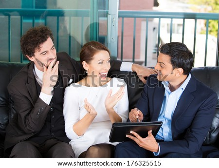 Picture of a manager, financial consultant, banker presenting to young smiling married couple, business investment opportunity plan, isolated on background of city buildings. Finance smart decisions. - stock photo