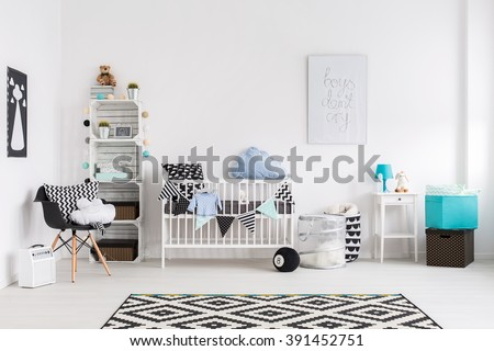 Picture of a modern baby room - stock photo