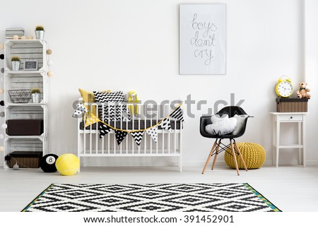 Picture of a modern baby room designed in scandi style - stock photo