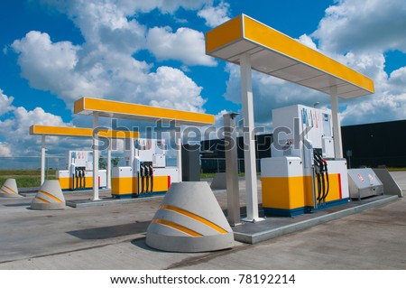 picture of a modern gas station for fueling gasoline - stock photo