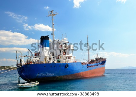 Picture of a moored empty cargo ship - stock photo