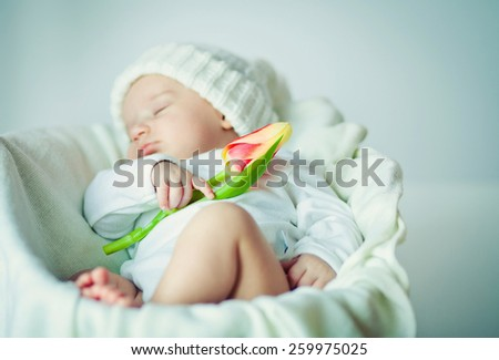 picture of a newborn baby  sleeping on a blanket with tulip. - stock photo