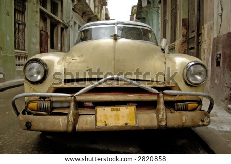 Picture of a old car in Cuba Havana 2007 - stock photo
