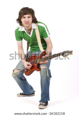 picture of a passionate guitarist playing his electric guitar