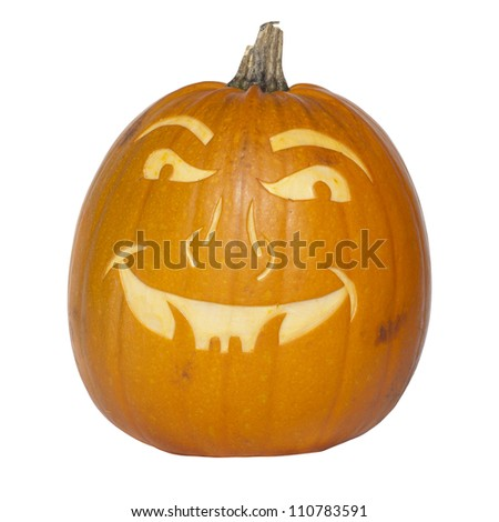 Picture of a pumpkin, with a scary face cut in the surface Isolated, white background - stock photo