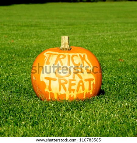 Picture of a pumpkin, with Trick Or Treat cut in the surface Standing on a lawn - stock photo
