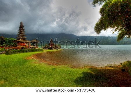 picture of a religious temple at bratan lake ? landscape