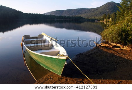 Picture of a row boat on Lake Monroe at Mont Tremblant National Park,Quebec,Canada.
