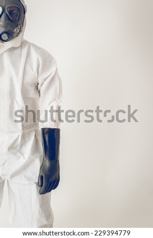 picture of a s doctor wearing anti-ebola suit. Concept about war crises and virus ebola - stock photo