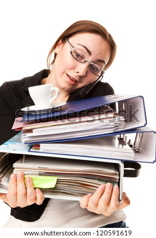 Picture of a secretry with tons of folders - stock photo