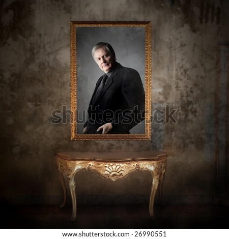 picture of a senior man and a console - stock photo