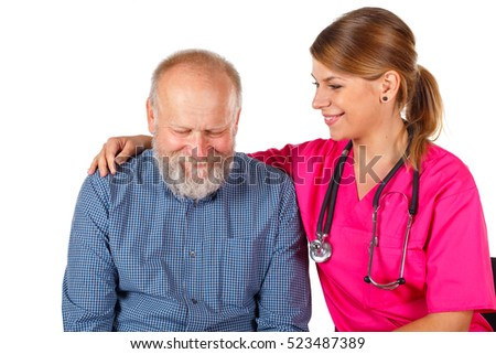 Picture of a senior man discussing medical problems with his doctor