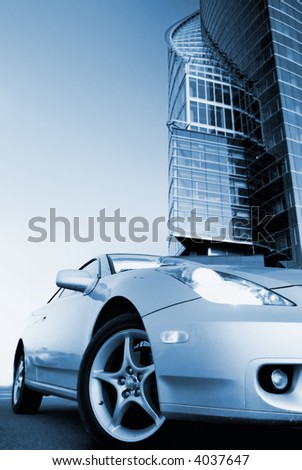 Picture of a sport car (toned in blue) - stock photo