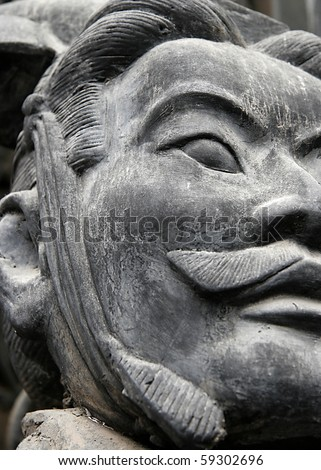Picture of a terracotta warrior from the xian dynasty. - stock photo
