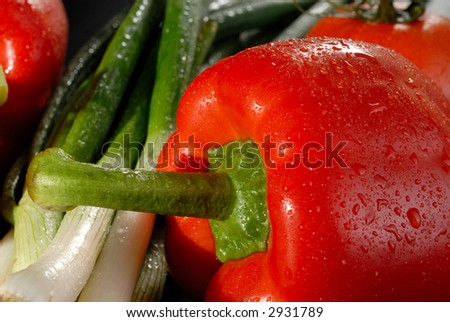 Picture of a vegetables on a black background - stock photo