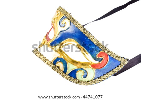 picture of a venetian carnival mask isolated on white - side view - stock photo