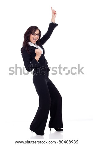 picture of a very happy business woman winning over white