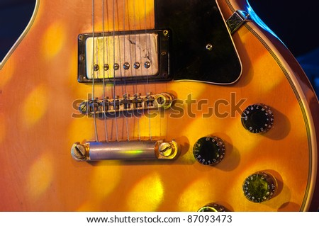 Picture of a vintage, classic electric guitar. Close up. - stock photo