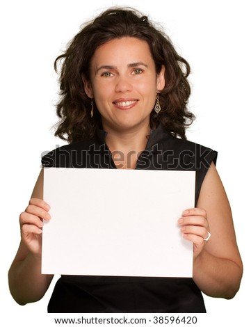 Picture of a woman holding a blank sign