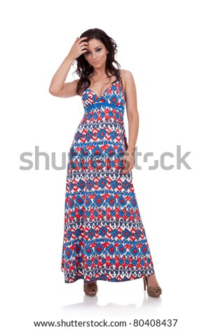 picture of a woman in a dress and high heels, isolated - stock photo