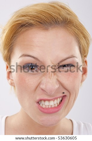 picture of a woman with a strange look on her face - stock photo