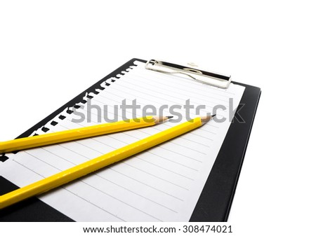 Picture of a yellow pencils on black clipboard isolated on a white background
