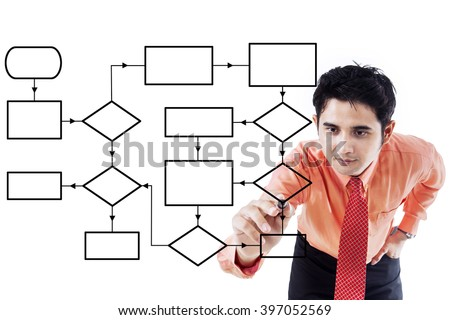 Picture of a young asian businessman drawing empty flow chart with a marker on the whiteboard - stock photo