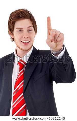 picture of a young business man pushing an imaginary button - stock photo