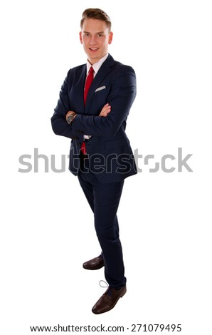 Picture of a young  businessman standing in front of an isolated background - stock photo