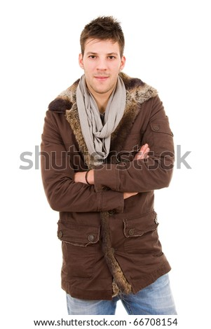 Picture of a young man dressed with winter clothes, isolated - stock photo