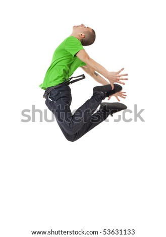 picture of a young man posing in a very high jump dance move - stock photo