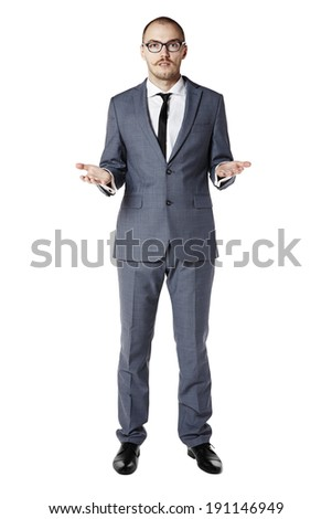 Picture of a young man spreads his hands. Isolated on white.  - stock photo