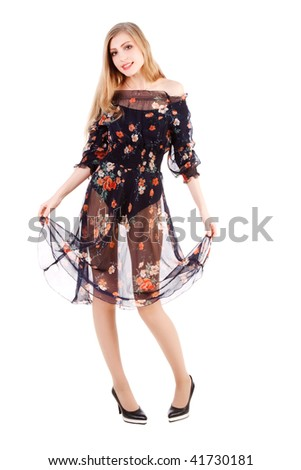 Picture of a young sweet carefree girl in dress