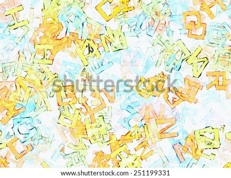 picture of abstract multicolored flying alphabet letters - stock photo