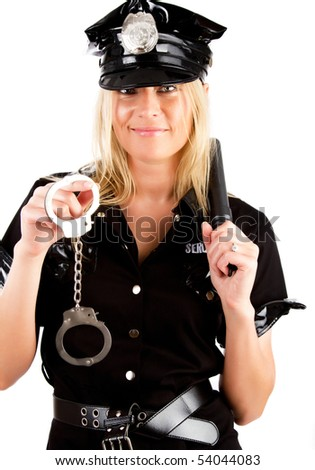 Picture of adorable girl in police uniform - stock photo