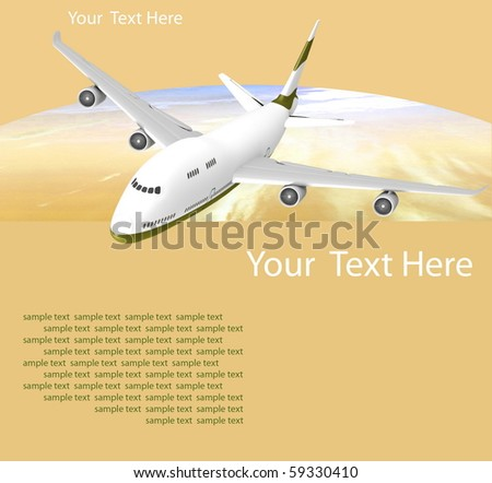 Picture of airplane on the orange background stock photo
