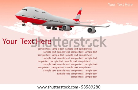 picture of airplane on the red background