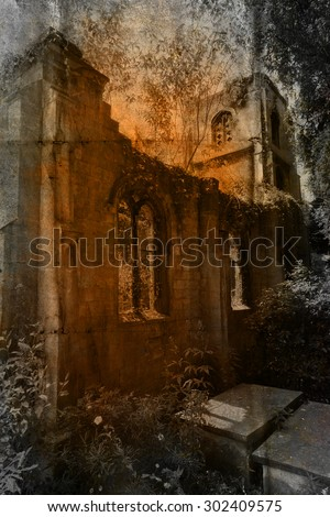 picture of an abandoned chapel altered with a dark grunge texture - stock photo