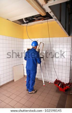 picture of an electrician - stock photo