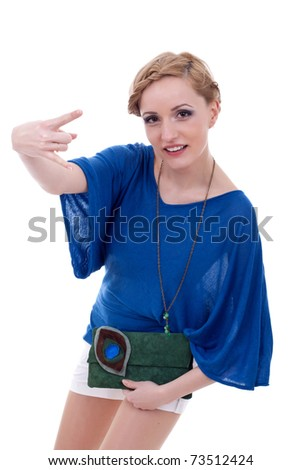picture of an excited beautiful woman making a rock and roll gesture - stock photo