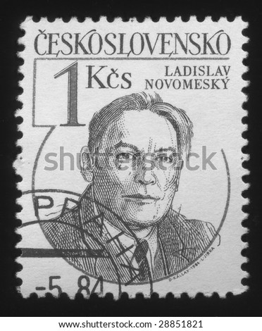 Picture of an old postage stamp from Czech  with portrait of Ladislav Novomesky.