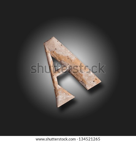 picture of an old stuck element - great A - free before black background - stock photo